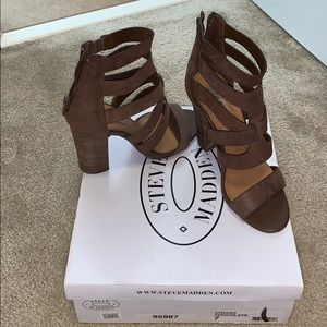 Steve Madden chocolate brown block heels